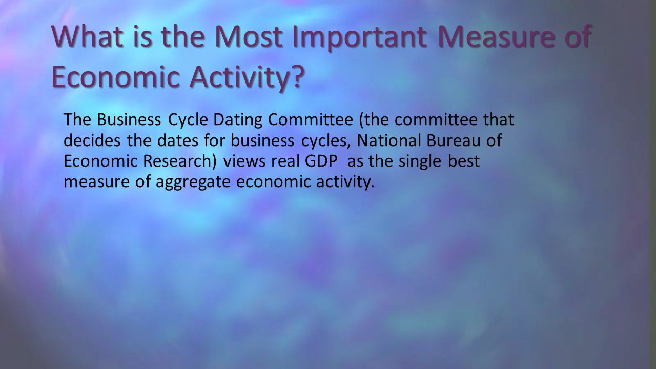 What is the Most Important Measure of Economic Activity.