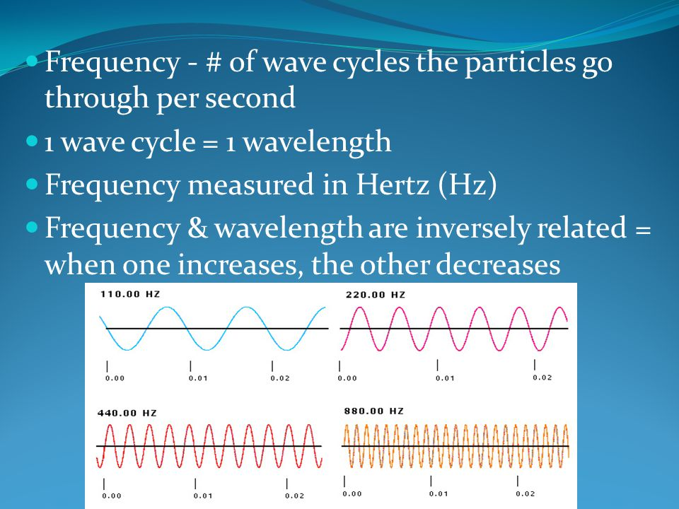 Frequency - # of wave cycles the particles go through per second 1 wave cycle = 1 wavelength Frequency measured in Hertz (Hz) Frequency & wavelength are inversely related = when one increases, the other decreases