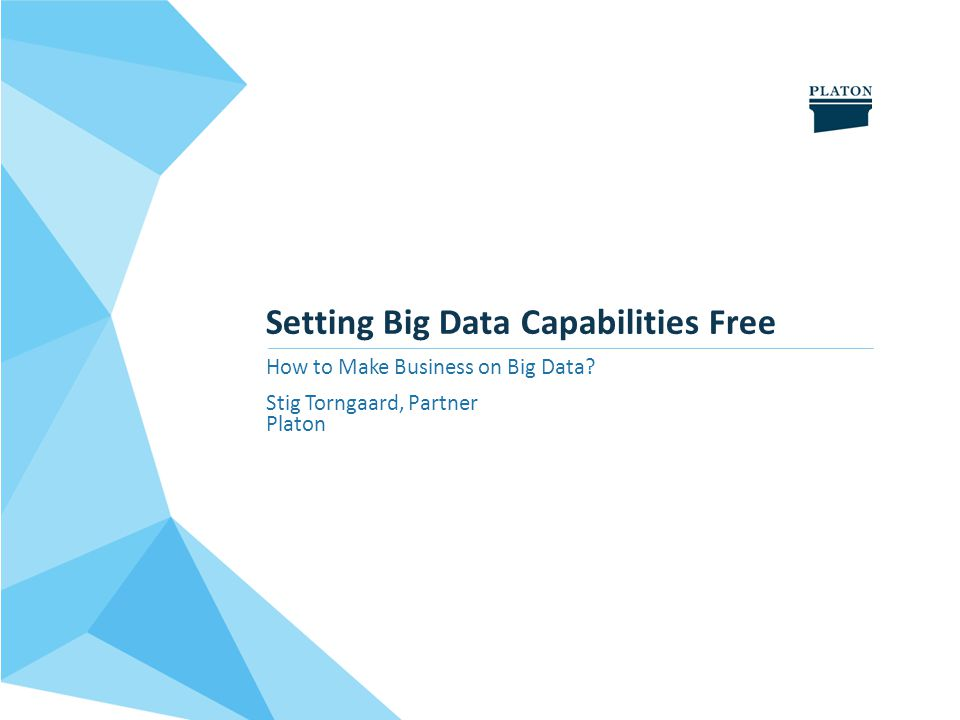 Setting Big Data Capabilities Free How to Make Business on Big Data Stig Torngaard, Partner Platon