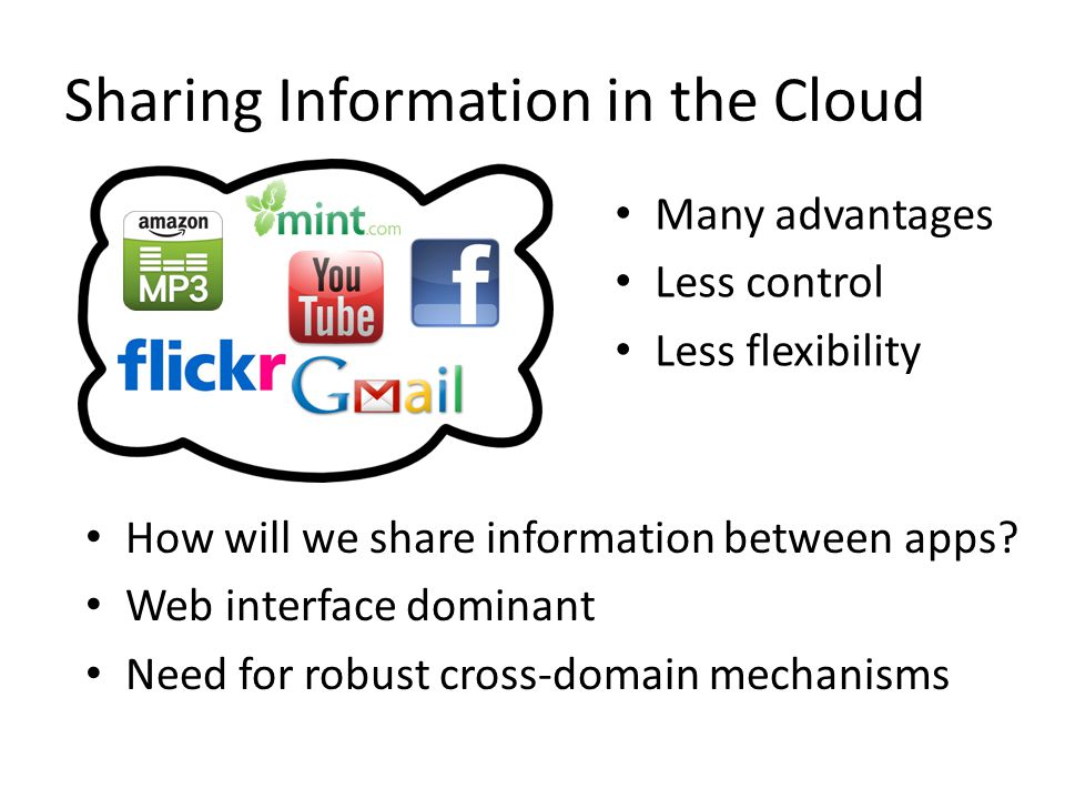 Sharing Information in the Cloud How will we share information between apps.