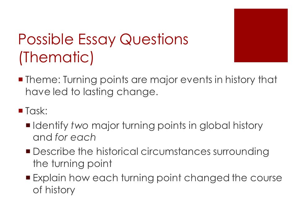 write turning point essay Industrial revolution and turning point essay over the span of 100 years beginning in 1750 and ending in 1850, the industrial revolution evolved europe into a.