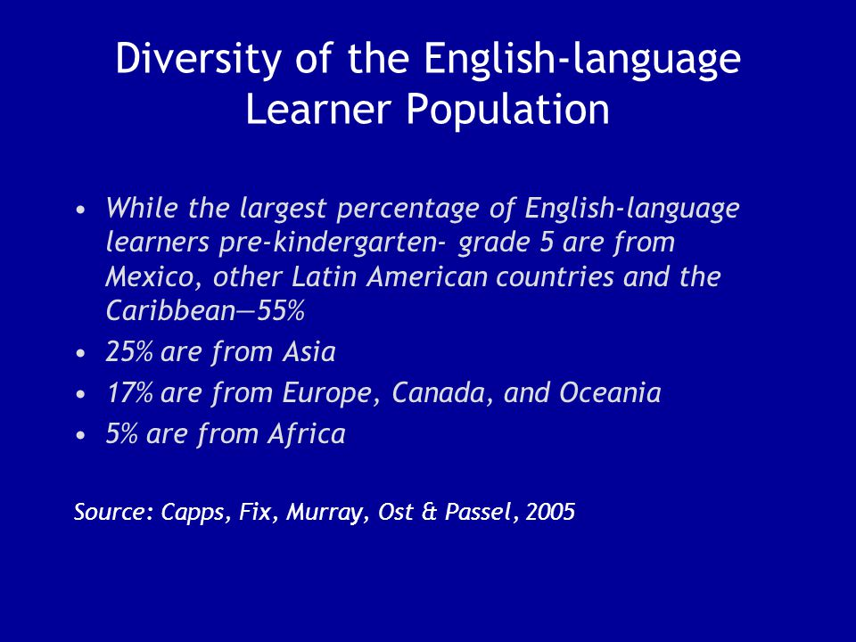 Diversity of the English-language Learner Population While the largest percentage of English-language learners pre-kindergarten- grade 5 are from Mexico, other Latin American countries and the Caribbean—55% 25% are from Asia 17% are from Europe, Canada, and Oceania 5% are from Africa Source: Capps, Fix, Murray, Ost & Passel, 2005
