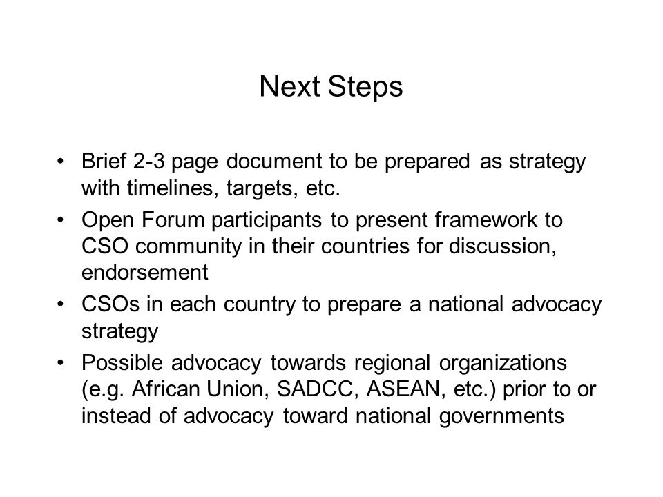 Next Steps Brief 2-3 page document to be prepared as strategy with timelines, targets, etc.