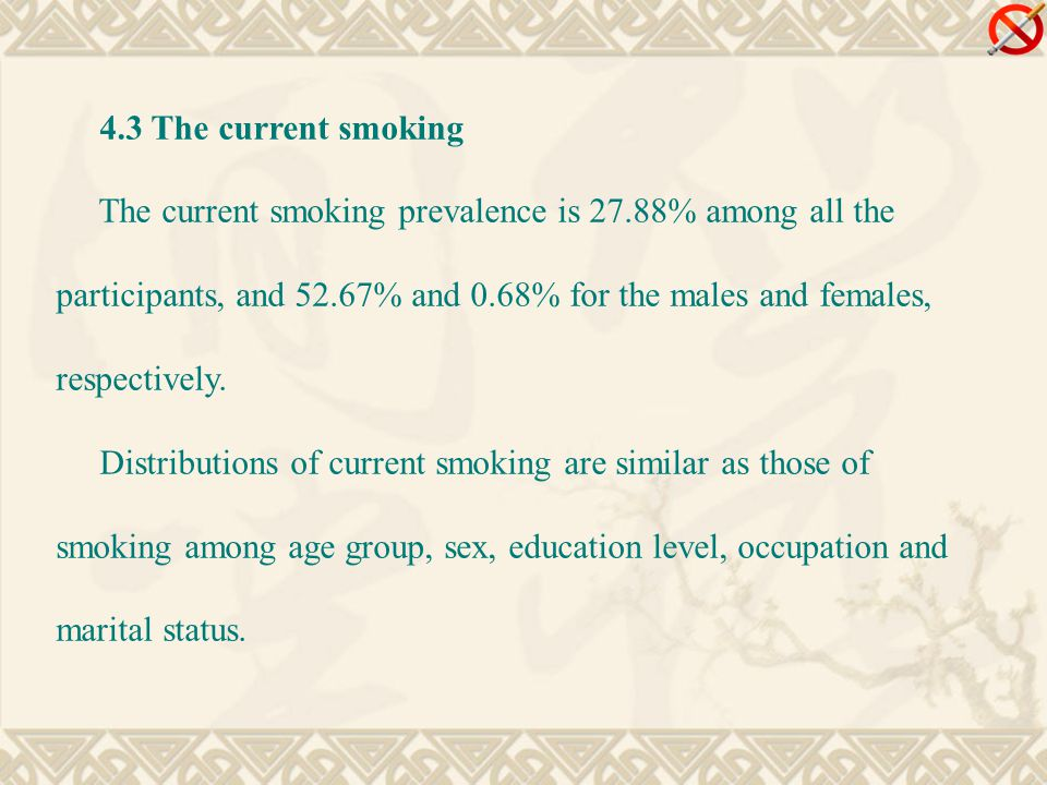 4.3 The current smoking The current smoking prevalence is 27.88% among all the participants, and 52.67% and 0.68% for the males and females, respectively.