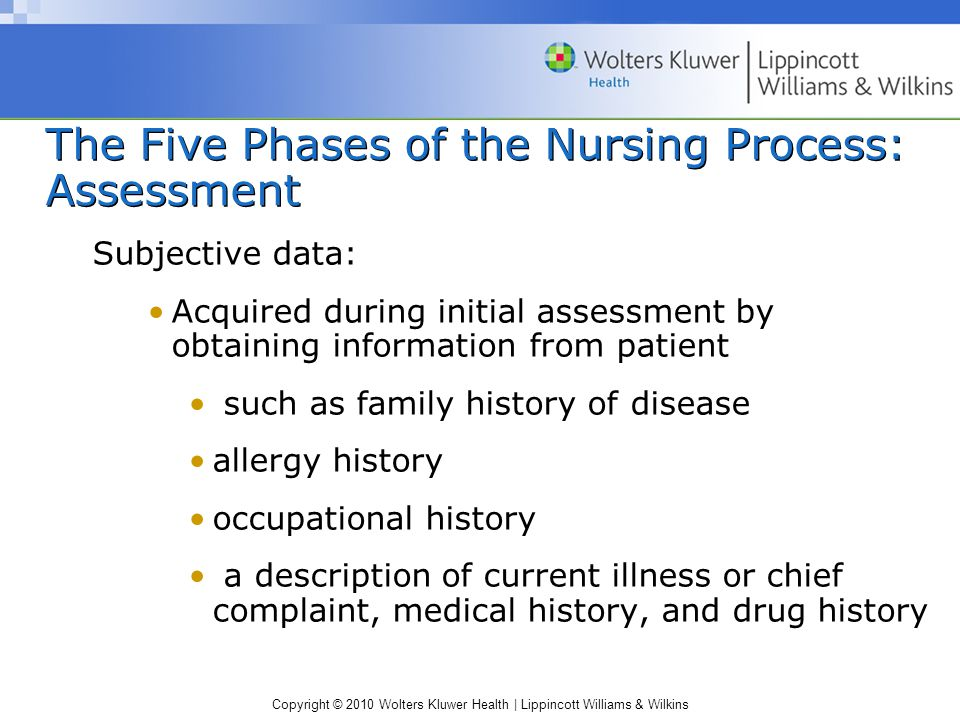 Copyright © 2010 Wolters Kluwer Health | Lippincott Williams & Wilkins The Five Phases of the Nursing Process: Assessment Subjective data: Acquired during initial assessment by obtaining information from patient such as family history of disease allergy history occupational history a description of current illness or chief complaint, medical history, and drug history