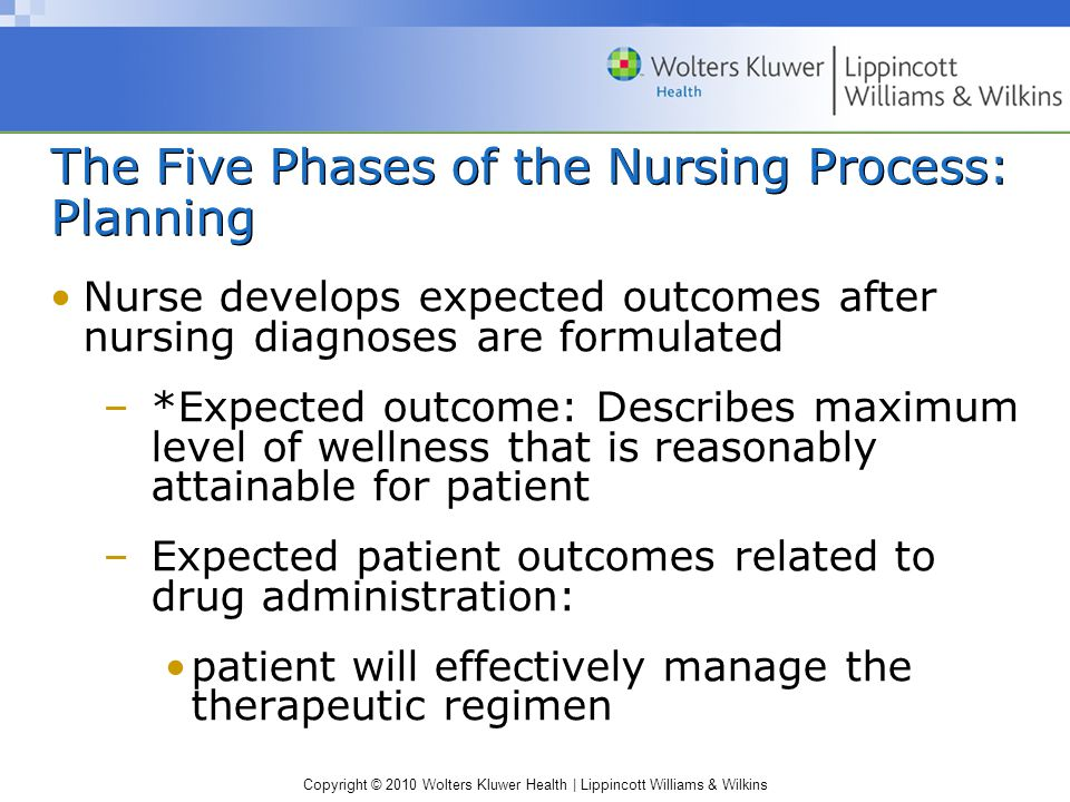 Copyright © 2010 Wolters Kluwer Health | Lippincott Williams & Wilkins The Five Phases of the Nursing Process: Planning Nurse develops expected outcomes after nursing diagnoses are formulated –*Expected outcome: Describes maximum level of wellness that is reasonably attainable for patient –Expected patient outcomes related to drug administration: patient will effectively manage the therapeutic regimen