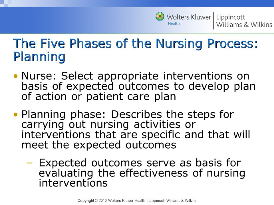 Copyright © 2010 Wolters Kluwer Health | Lippincott Williams & Wilkins The Five Phases of the Nursing Process: Planning Nurse: Select appropriate interventions on basis of expected outcomes to develop plan of action or patient care plan Planning phase: Describes the steps for carrying out nursing activities or interventions that are specific and that will meet the expected outcomes –Expected outcomes serve as basis for evaluating the effectiveness of nursing interventions