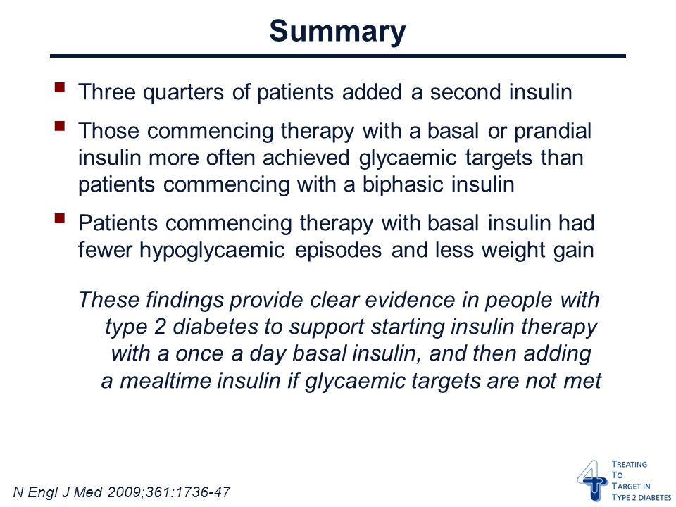 N Engl J Med 2009;361: Summary  Three quarters of patients added a second insulin  Those commencing therapy with a basal or prandial insulin more often achieved glycaemic targets than patients commencing with a biphasic insulin  Patients commencing therapy with basal insulin had fewer hypoglycaemic episodes and less weight gain These findings provide clear evidence in people with type 2 diabetes to support starting insulin therapy with a once a day basal insulin, and then adding a mealtime insulin if glycaemic targets are not met