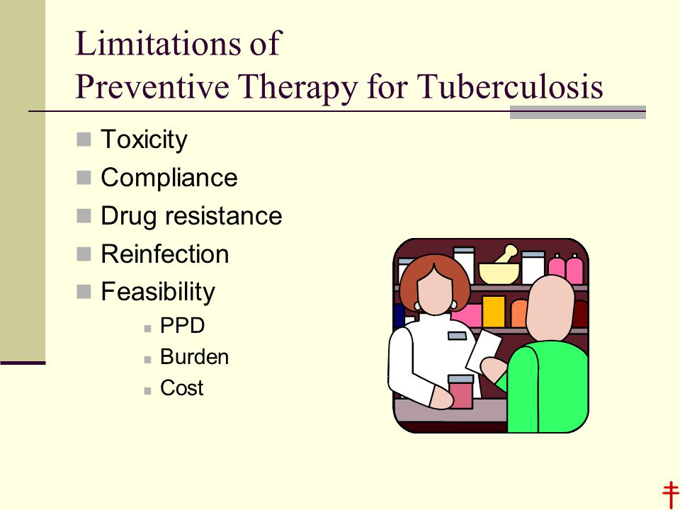 Limitations of Preventive Therapy for Tuberculosis Toxicity Compliance Drug resistance Reinfection Feasibility PPD Burden Cost