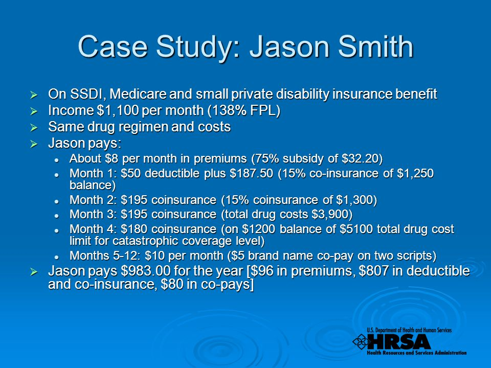 Case Study: Jason Smith  On SSDI, Medicare and small private disability insurance benefit  Income $1,100 per month (138% FPL)  Same drug regimen and costs  Jason pays: About $8 per month in premiums (75% subsidy of $32.20) About $8 per month in premiums (75% subsidy of $32.20) Month 1: $50 deductible plus $ (15% co-insurance of $1,250 balance) Month 1: $50 deductible plus $ (15% co-insurance of $1,250 balance) Month 2: $195 coinsurance (15% coinsurance of $1,300) Month 2: $195 coinsurance (15% coinsurance of $1,300) Month 3: $195 coinsurance (total drug costs $3,900) Month 3: $195 coinsurance (total drug costs $3,900) Month 4: $180 coinsurance (on $1200 balance of $5100 total drug cost limit for catastrophic coverage level) Month 4: $180 coinsurance (on $1200 balance of $5100 total drug cost limit for catastrophic coverage level) Months 5-12: $10 per month ($5 brand name co-pay on two scripts) Months 5-12: $10 per month ($5 brand name co-pay on two scripts)  Jason pays $ for the year [$96 in premiums, $807 in deductible and co-insurance, $80 in co-pays]