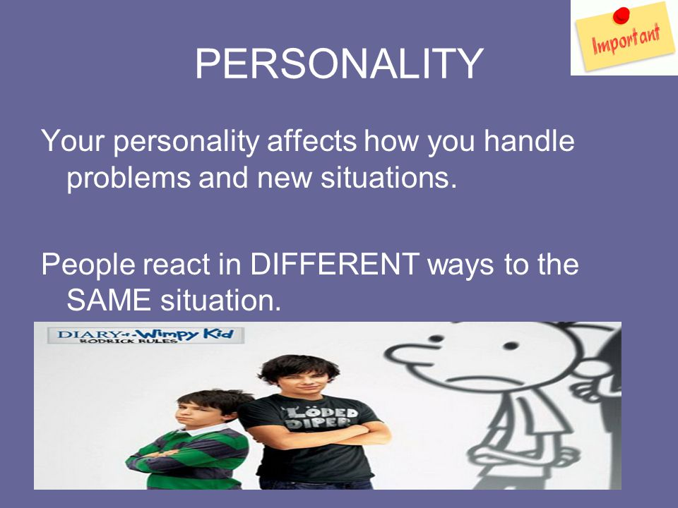 PERSONALITY Your personality affects how you handle problems and new situations.