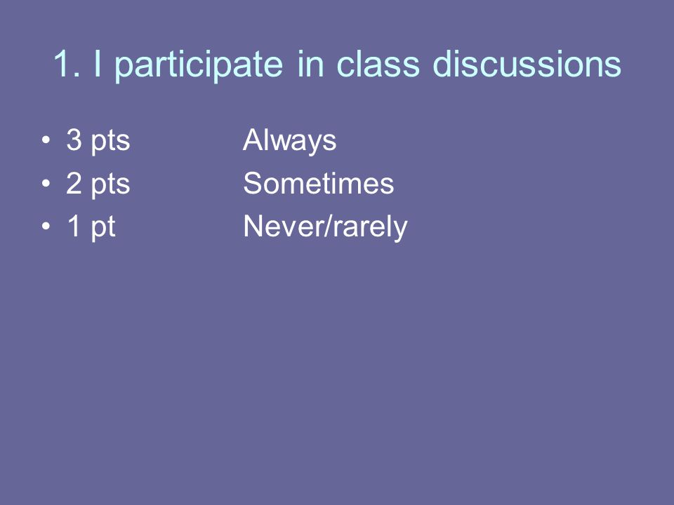 1. I participate in class discussions 3 ptsAlways 2 ptsSometimes 1 ptNever/rarely