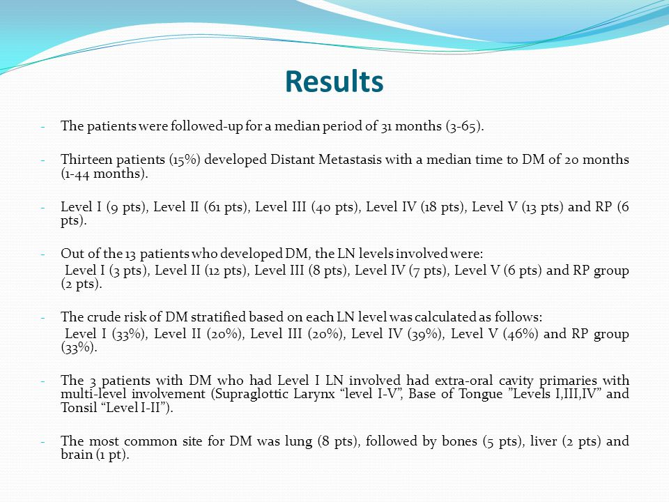 Results - The patients were followed-up for a median period of 31 months (3-65).