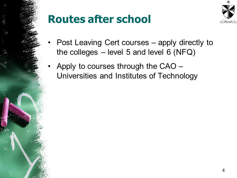 Routes after school Post Leaving Cert courses – apply directly to the colleges – level 5 and level 6 (NFQ) Apply to courses through the CAO – Universities and Institutes of Technology 4