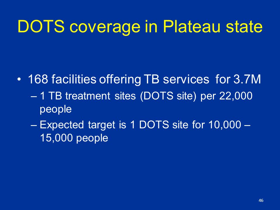 DOTS coverage in Plateau state 168 facilities offering TB services for 3.7M –1 TB treatment sites (DOTS site) per 22,000 people –Expected target is 1 DOTS site for 10,000 – 15,000 people 46