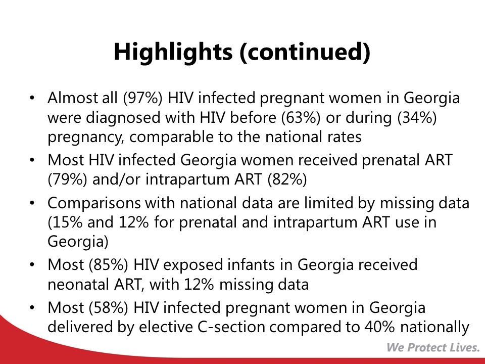Highlights (continued) Almost all (97%) HIV infected pregnant women in Georgia were diagnosed with HIV before (63%) or during (34%) pregnancy, comparable to the national rates Most HIV infected Georgia women received prenatal ART (79%) and/or intrapartum ART (82%) Comparisons with national data are limited by missing data (15% and 12% for prenatal and intrapartum ART use in Georgia) Most (85%) HIV exposed infants in Georgia received neonatal ART, with 12% missing data Most (58%) HIV infected pregnant women in Georgia delivered by elective C-section compared to 40% nationally