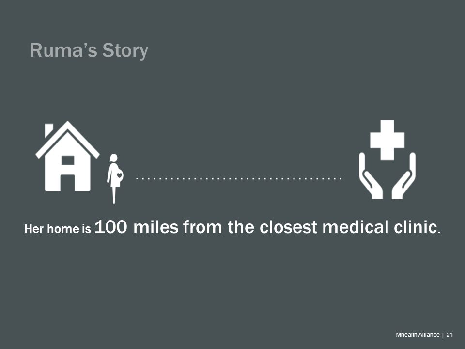Mhealth Alliance | 21 Ruma's Story Her home is 100 miles from the closest medical clinic.