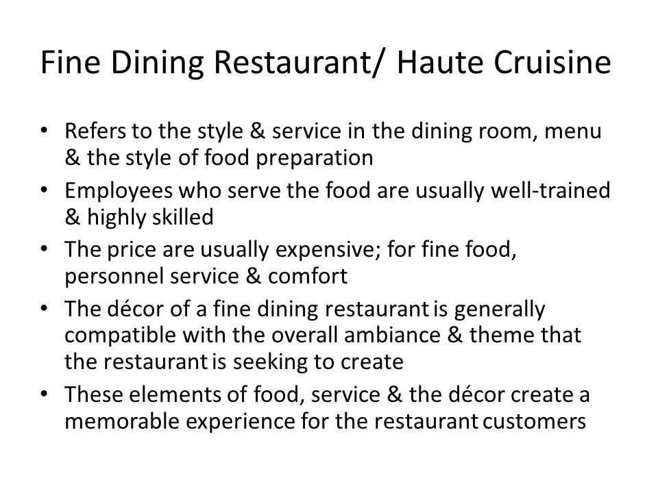 Dining Room Preparation And Service Meaning