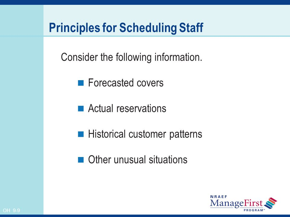 OH 9-9 Principles for Scheduling Staff Consider the following information.