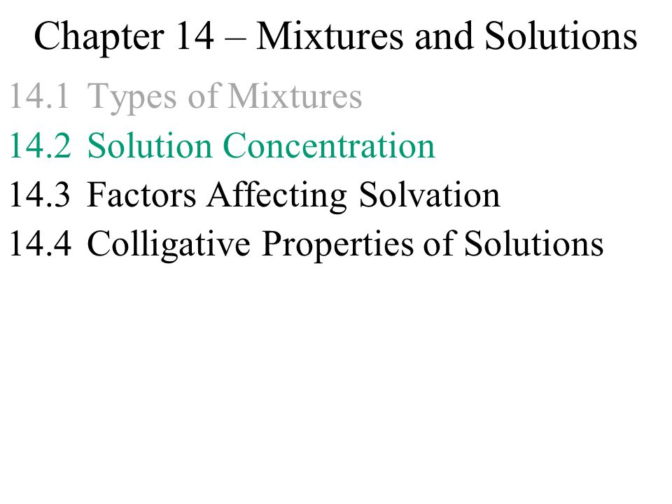 Chapter 14 Mixtures and Solutions 141Types of Mixtures 142 – Mixtures and Solutions Worksheets