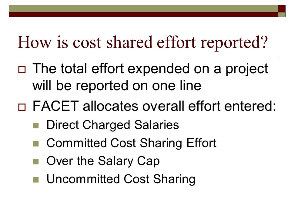 How is cost shared effort reported.
