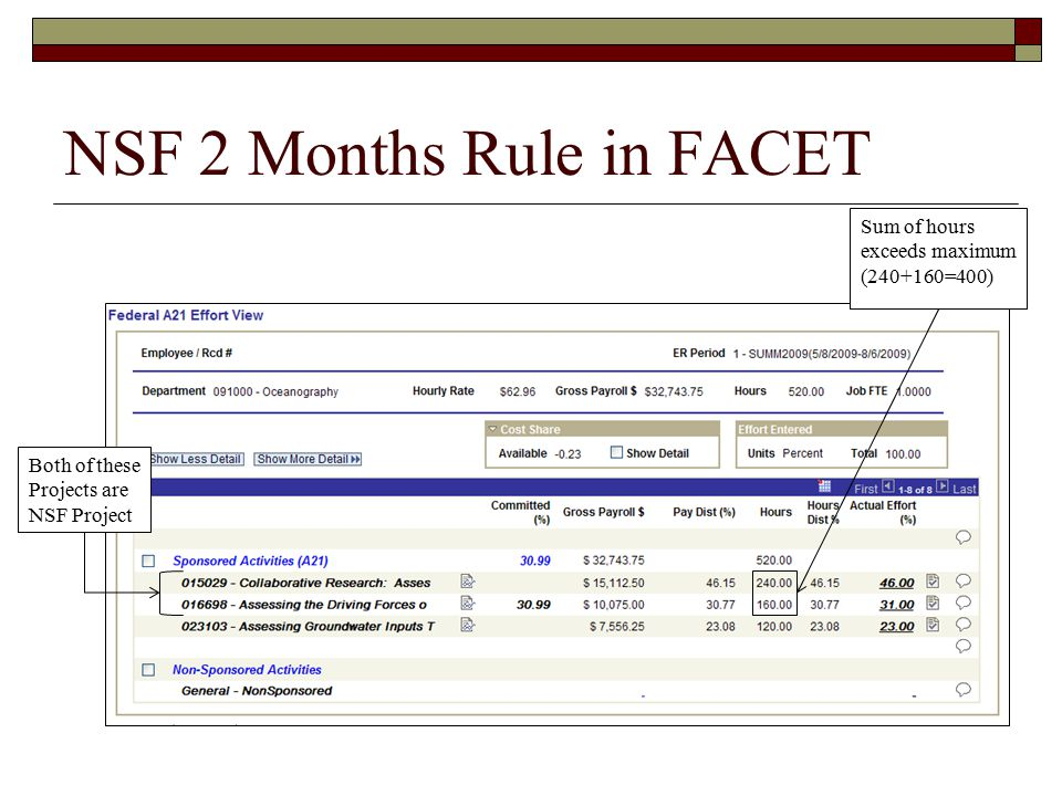 NSF 2 Months Rule in FACET Both of these Projects are NSF Project Sum of hours exceeds maximum ( =400)