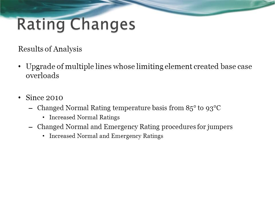 Results of Analysis Upgrade of multiple lines whose limiting element created base case overloads Since 2010 – Changed Normal Rating temperature basis from 85° to 93°C Increased Normal Ratings – Changed Normal and Emergency Rating procedures for jumpers Increased Normal and Emergency Ratings
