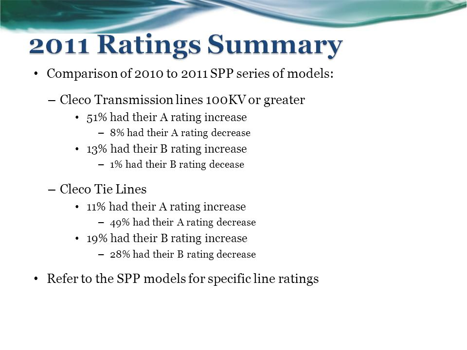 Comparison of 2010 to 2011 SPP series of models: – Cleco Transmission lines 100KV or greater 51% had their A rating increase – 8% had their A rating decrease 13% had their B rating increase – 1% had their B rating decease – Cleco Tie Lines 11% had their A rating increase – 49% had their A rating decrease 19% had their B rating increase – 28% had their B rating decrease Refer to the SPP models for specific line ratings