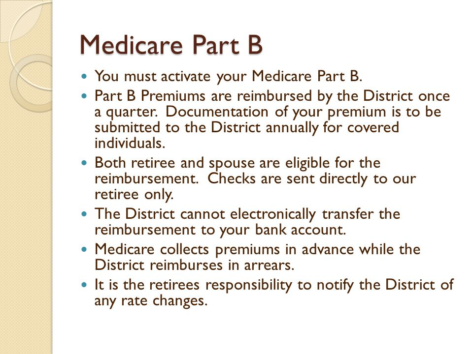 Medicare Part B You must activate your Medicare Part B.