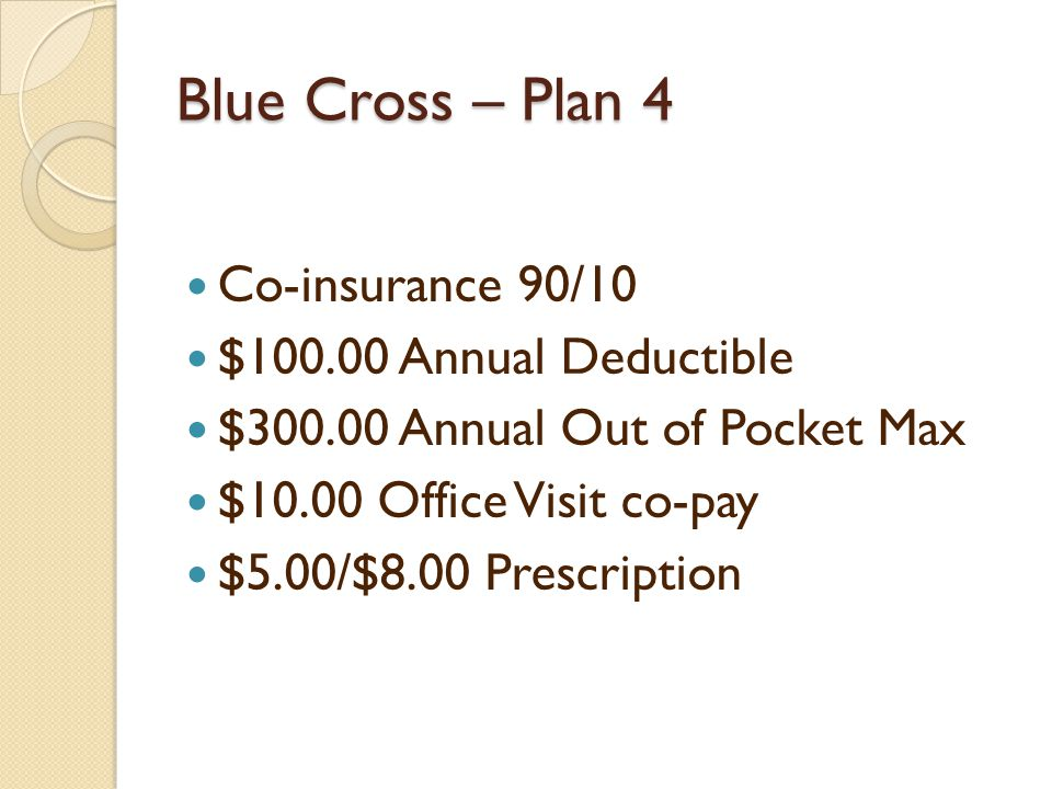 Blue Cross – Plan 4 Co-insurance 90/10 $ Annual Deductible $ Annual Out of Pocket Max $10.00 Office Visit co-pay $5.00/$8.00 Prescription