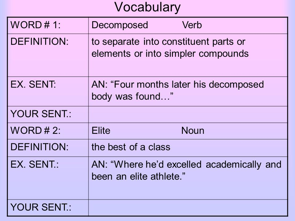 Vocabulary WORD # 1:Decomposed Verb DEFINITION:to Separate Into Constituent  Parts Or Elements