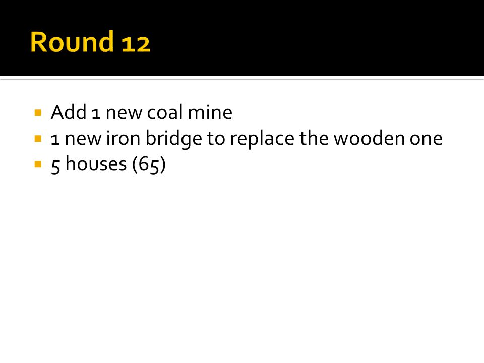  Add 1 new coal mine  1 new iron bridge to replace the wooden one  5 houses (65)