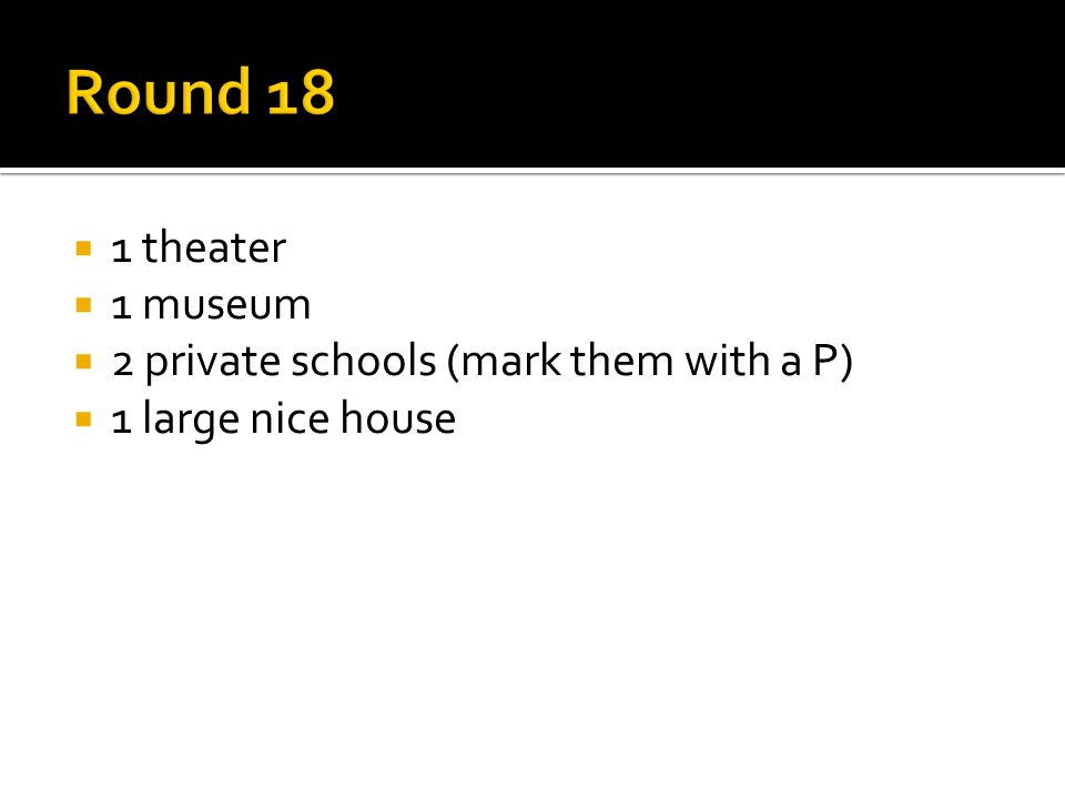  1 theater  1 museum  2 private schools (mark them with a P)  1 large nice house