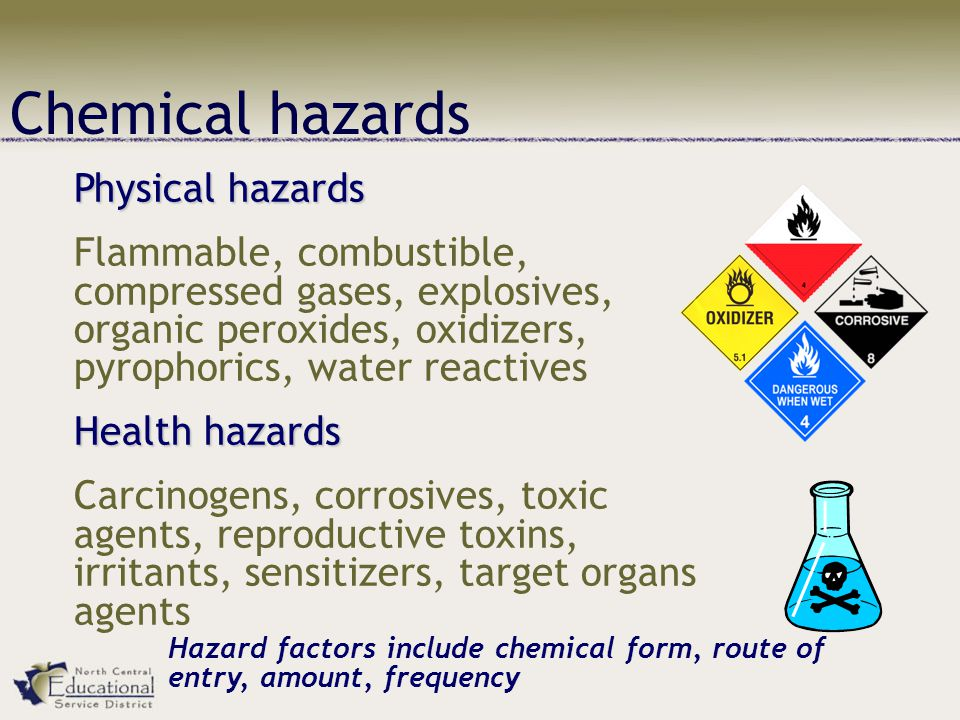 Chemical hazards Physical hazards Flammable, combustible, compressed gases, explosives, organic peroxides, oxidizers, pyrophorics, water reactives Health hazards Carcinogens, corrosives, toxic agents, reproductive toxins, irritants, sensitizers, target organs agents Hazard factors include chemical form, route of entry, amount, frequency