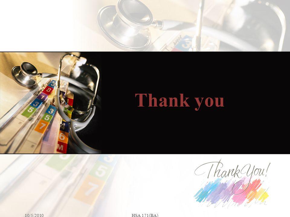 Thank you 10/5/2010HSA 171(BA)