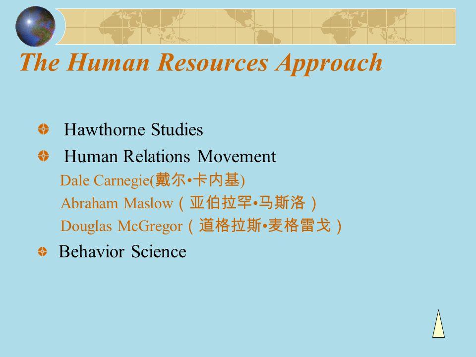 The Human Resources Approach Hawthorne Studies Human Relations Movement Dale Carnegie( 戴尔 卡内基 ) Abraham Maslow (亚伯拉罕 马斯洛) Douglas McGregor (道格拉斯 麦格雷戈)