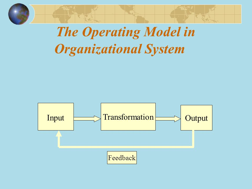 The Operating Model in Organizational System Input Transformation Output Feedback
