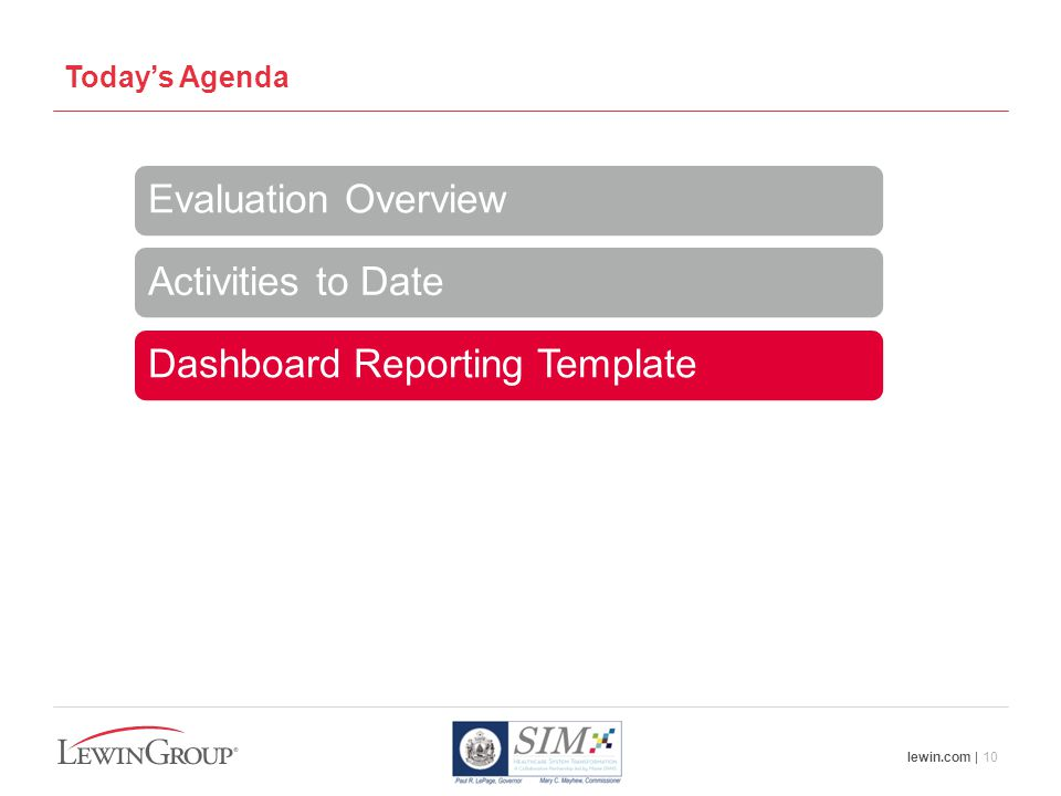 lewin.com | 10 Today's Agenda Evaluation Overview Activities to Date Dashboard Reporting Template