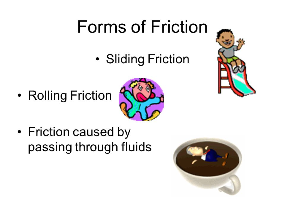 Forms of Friction Sliding Friction Rolling Friction Friction caused by passing through fluids