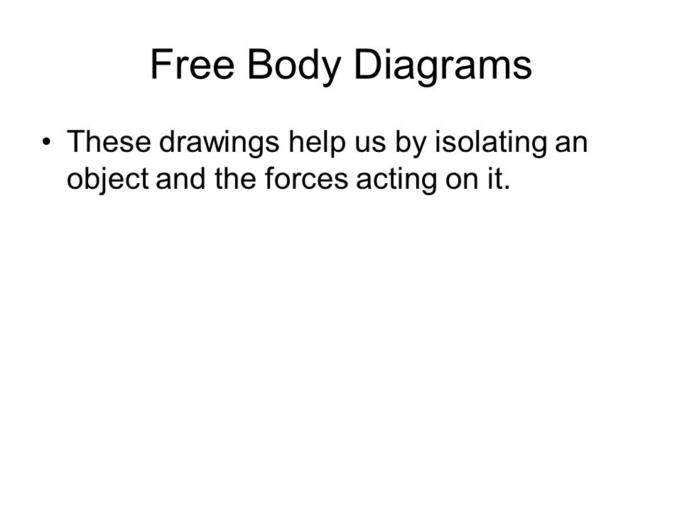 Free Body Diagrams These drawings help us by isolating an object and the forces acting on it.