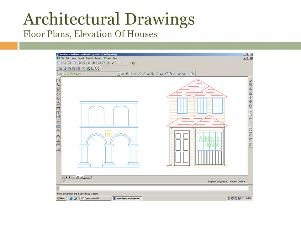 Architectural Drawings Floor Plans, Elevation Of Houses