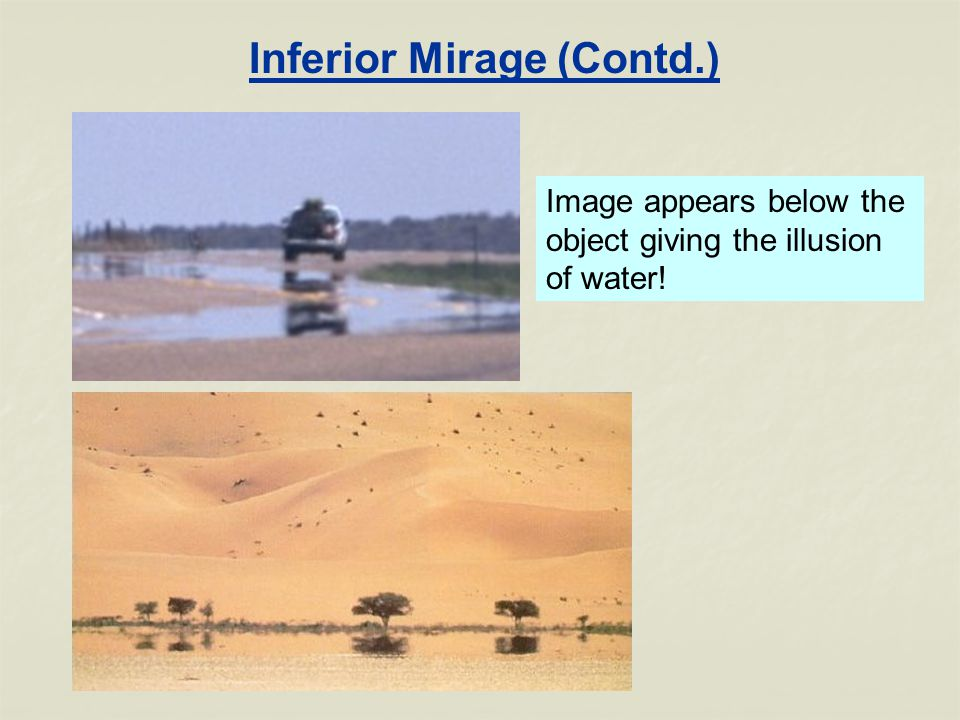 Inferior Mirage (Contd.) Image appears below the object giving the illusion of water!