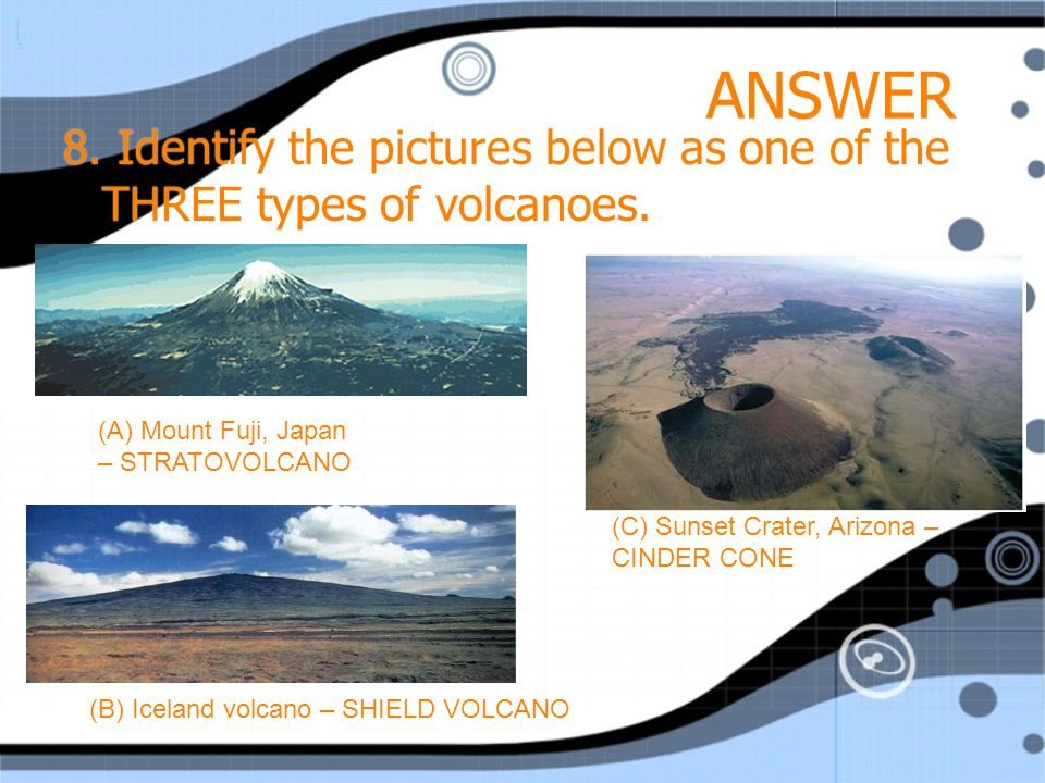 ANSWER 8. Identify the pictures below as one of the THREE types of volcanoes.