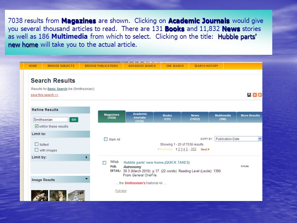 MagazinesAcademic Journals BooksNews Hubble parts' new home 7038 results from Magazines are shown.