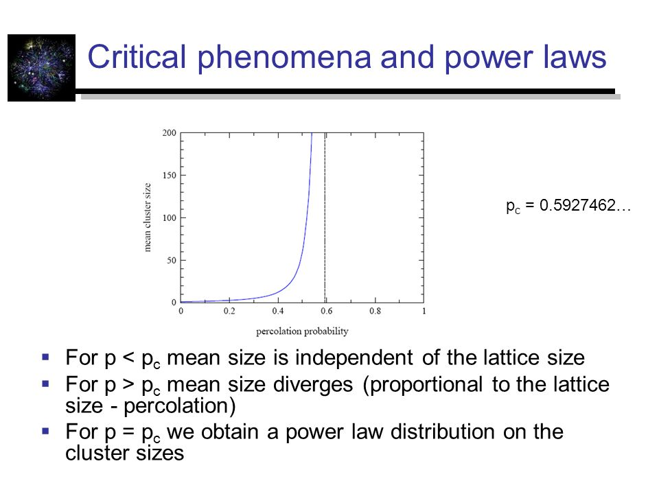 Critical phenomena and power laws  For p < p c mean size is independent of the lattice size  For p > p c mean size diverges (proportional to the lattice size - percolation)  For p = p c we obtain a power law distribution on the cluster sizes p c = …