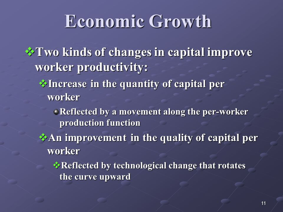 11 Economic Growth  Two kinds of changes in capital improve worker productivity:  Increase in the quantity of capital per worker Reflected by a movement along the per-worker production function  An improvement in the quality of capital per worker  Reflected by technological change that rotates the curve upward