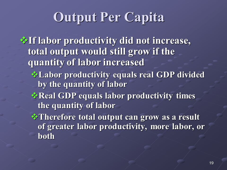 19 Output Per Capita  If labor productivity did not increase, total output would still grow if the quantity of labor increased  Labor productivity equals real GDP divided by the quantity of labor  Real GDP equals labor productivity times the quantity of labor  Therefore total output can grow as a result of greater labor productivity, more labor, or both