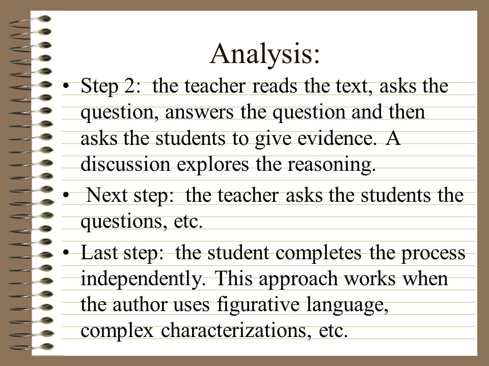 Analysis: Step 2: the teacher reads the text, asks the question, answers the question and then asks the students to give evidence.