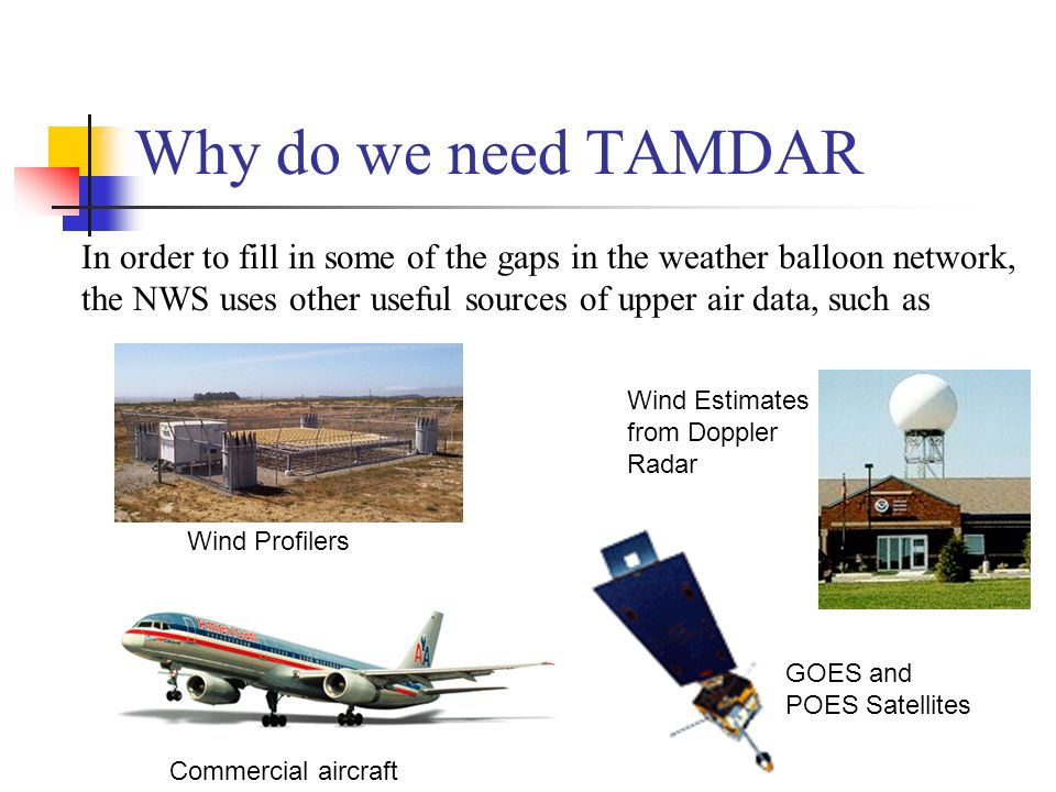 Why do we need TAMDAR In order to fill in some of the gaps in the weather balloon network, the NWS uses other useful sources of upper air data, such as Wind Profilers GOES and POES Satellites Wind Estimates from Doppler Radar Commercial aircraft