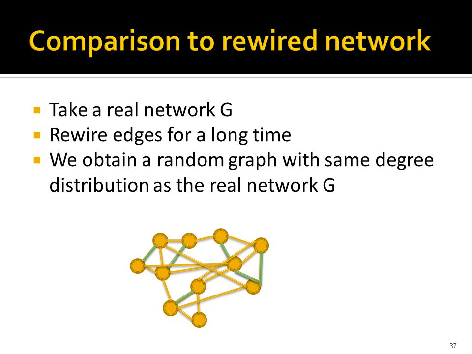  Take a real network G  Rewire edges for a long time  We obtain a random graph with same degree distribution as the real network G 37